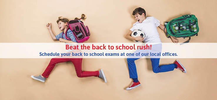 boy and girl running with backpacks and text: Beat the back to school rush!