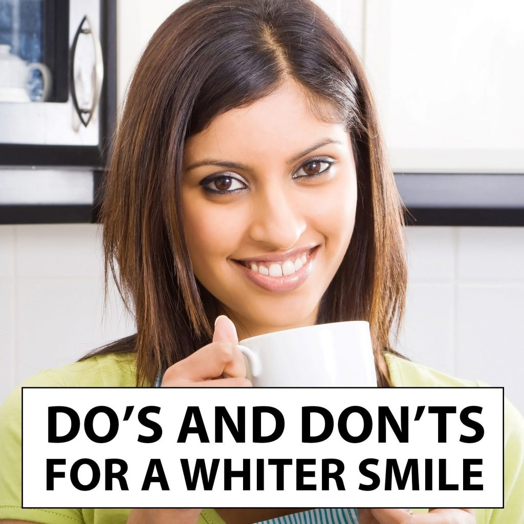 "Woman hold mug with text that reads ""Do's and Don't For A Whiter Smile"""