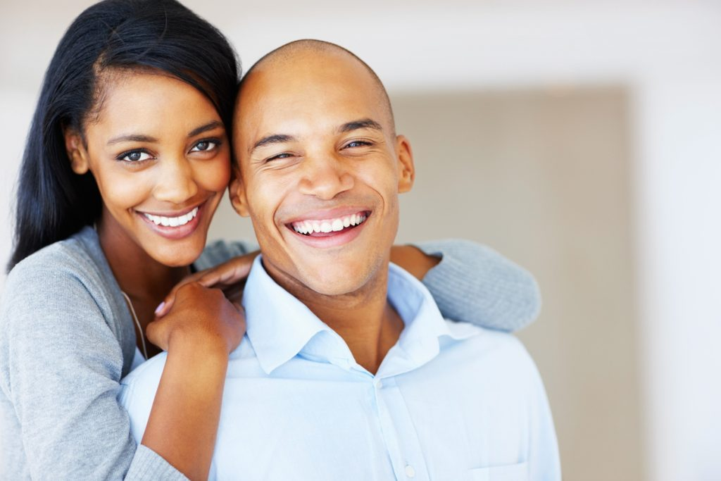Closeup portrait of beautiful African American couple spending time together