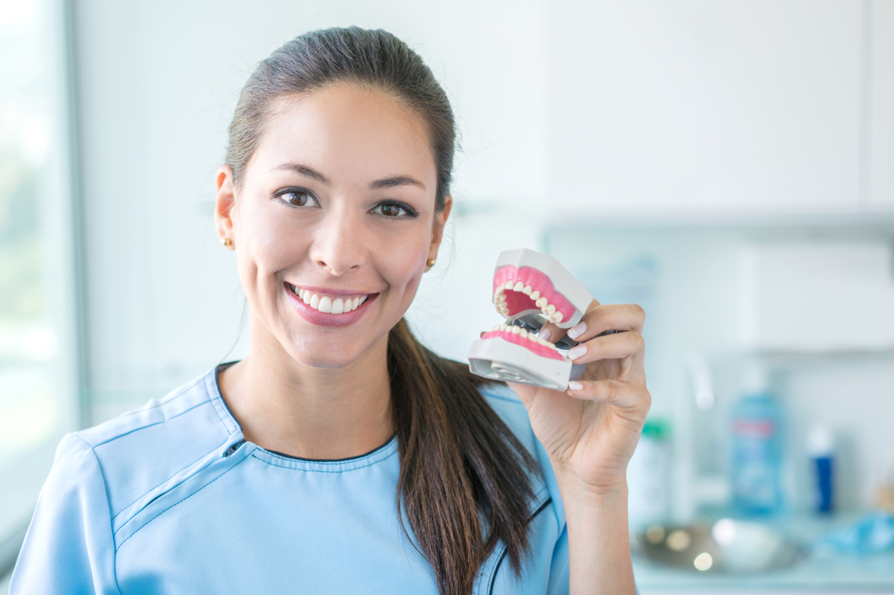 Happy dentist holding a denture and looking at the camera smiling - oral health concepts